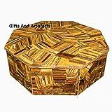 Tiger Eye zufällige Marmor 15,2cm Octagon weiß Marmor Jewelry Cum Luxus Deko Box