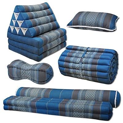 Kapok Thaikissen, Yogakissen, Massagekissen, Kopfkissen, Tantrakissen, Sitzkissen - blau/grau Muster
