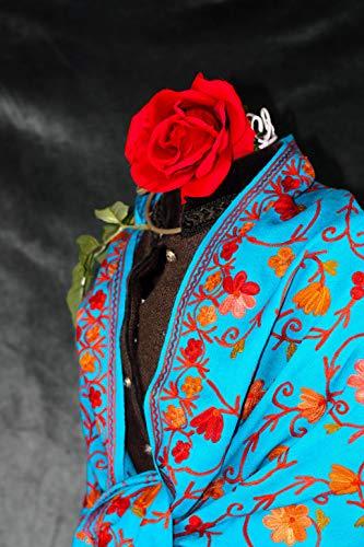 Stola/Umhang handgestickt in türkis für Abendkleid, handgewebter Wollschal