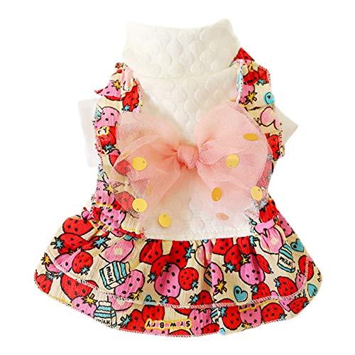PanDaDa Hund Winter Dress Kostüm Hund Katzen Large Bowknot Strawberry Dress für Herbst und Winter für kleine mittelgroße - Kaltes Wetter Prinzessin Kostüm
