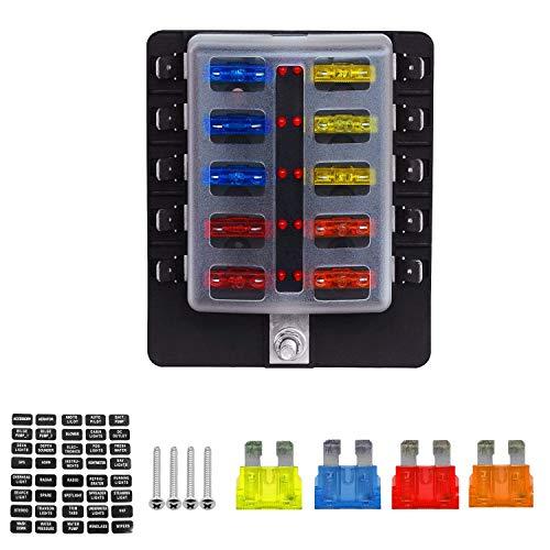 TurnRaise Caja de Fusibles 10 Vías Portafusibles con Lámpara de Alerta LED Kit para Coche Barco