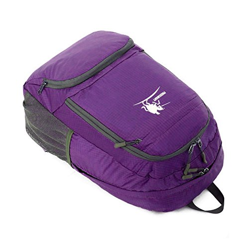 35L Wasserdicht faltbarer Rucksack Daypack Rucksack-Backpack Leichter Tagesrucksack Tasche für alle Männer Frauen und Kinder für Outdoor Wandern Camping Reisen Violett