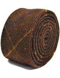 Frederick Thomas chocolate brown, blue checked 100% tweed wool tie