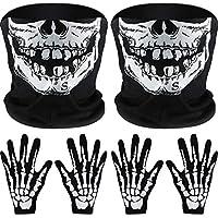 Tatuo 2 Juegos de Guantes de Esqueleto Blancos y Máscara de Cara de Calavera Mitad de Huesos de Fantasmas para Fiesta de Disfraz de Danza de Halloween de Adultos
