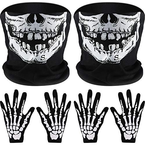Tatuo 2 Juegos Guantes Esqueleto Blancos Máscara