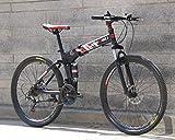 Hycy 26-Zoll-Faltreifen Mountainbike 21-Fach Doppelt Dämpfende Schaltung Auto EIN Rad Doppelscheibenbremse Mountainbike,C