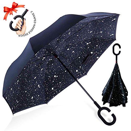 Reversion Regenschirm, Innovative Schirme Double Layer Winddicht Regenschirm Freie Hand Taschenschirm inverted Stockschirme mit C Griff für Reisen und Auto Outdoor di ZOMAKE (Nachthimmel)