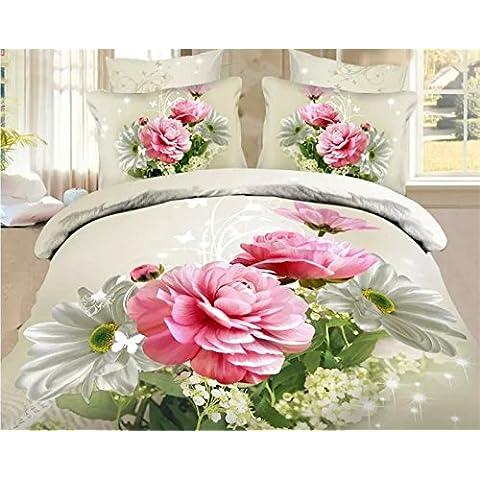 SUNGH Fiore foglia verde quattro pezzi 3D stampa su quattro pezzi tuta camera da letto 3D - Stampa 4 Pezzi Cotone