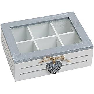 matches21-Teebox-Teekiste-aus-Holz-mit-Herzdeko-6-Fchern-fr-Teebeutel-etc-grau-wei-21x16x7-cm-mit-Sichtfenster