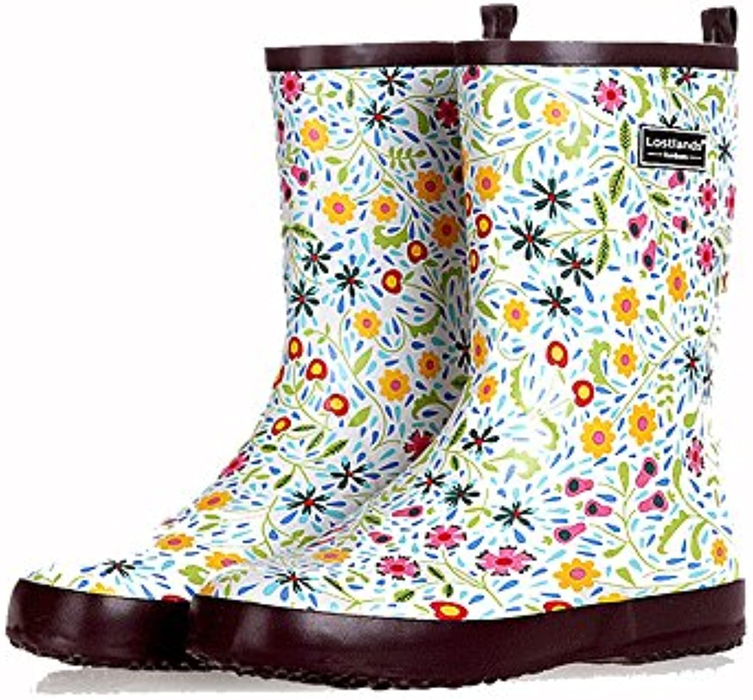 e0abd4043b6d Xiuzhifuxie 30296 Spring nhta-30297 Summer Printing Rubber Non Medium Tube  Ladies  Rain Boots Rubber Non Slip Waterproof Water Shoes.