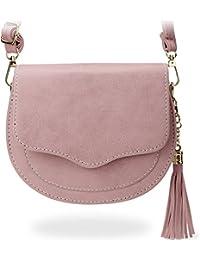 stilvolle Damentasche kleine halbrunde Messengertasche mit Klappe rosa