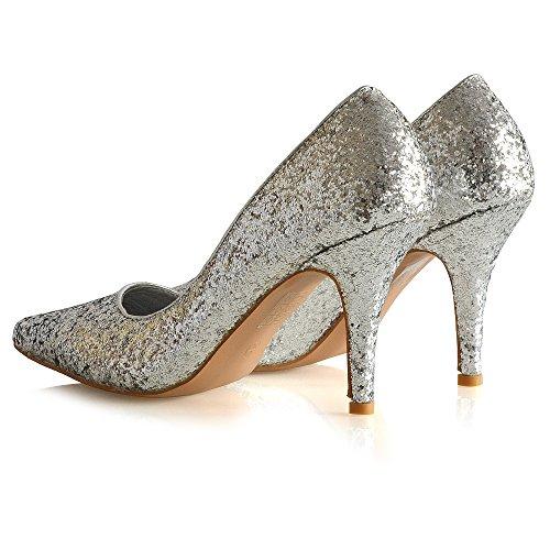 Essex Glam Femme Talon Stiletto Slip Sur Chaussure Scarpa Parti Bureau Chaussures Argent Glitter