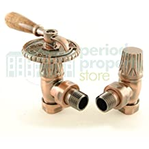 Bentley - Juego de válvulas de palanca para radiadores de hierro fundido de cobre envejecido
