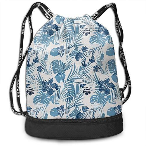 Multipurpose Drawstring Bag for Men & Women, Island Ocean Beach Sea Inspired Hawaiian Flowers Palm Tree Leaves Art Print,Tote Sack Large Storage Sackpack for Gym Travel Hiking