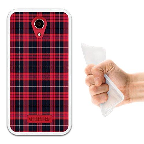 WoowCase Doogee X3 Hülle, Handyhülle Silikon für [ Doogee X3 ] Rote Schottenkaro Quadrate Handytasche Handy Cover Case Schutzhülle Flexible TPU - Transparent