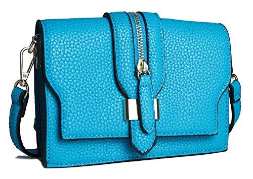 Big Handbag Shop Damen Mini Reißverschluss Effekt Kreuz Körper Kupplung Schultertasche Himmelblau