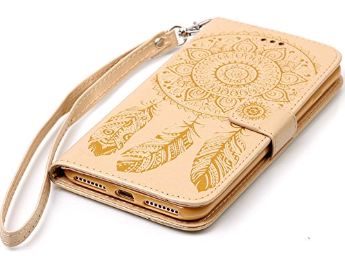 Apple Iphone 7 Hülle Leder Flip Wallet Cover Case, Nnopbeclik Folio PU Leather Blume Case Handytasche Schutz Drucken Blume [Campanula] Kristall Glitzer Bookstyle Handyhülle Echt Strass Etui Muster Bri Pattern D