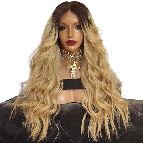 Synthetische Lace Front Perücke Afro Kinkys lockiges brasilianisches Menschenhaar lange blonde kleine Rolle Re-styleable hitzebeständig mit natürlichen Haaransatz für Frauen (24in)