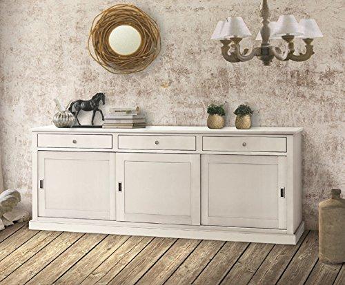 Inhouse srls credenza 3 porte, arte povera, in legno massello e mdf con rifinitura in bianco opaco- mis. 200x50x90h