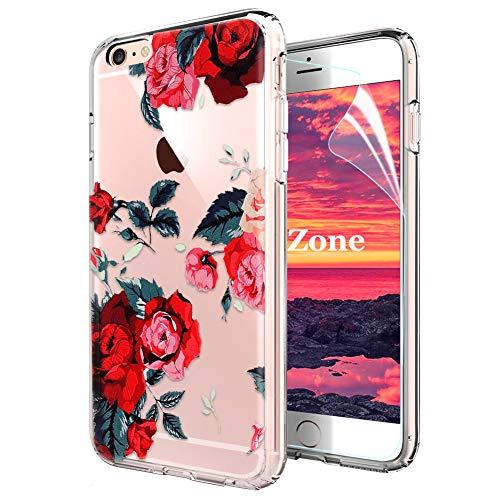 OKZone Cover iPhone 6S/iPhone 6 [con Pellicola Proteggi Schermo], Custodia con Motivo Fiori, Stampa Floral Flessibile TPU Cover Posteriore Protezione Caso per Apple iPhone 6S/iPhone 6 (Rosso)