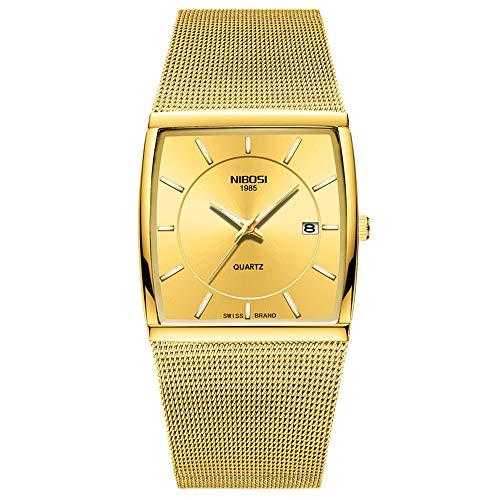 Herrenuhren Quadrat Ultra-dünn Zifferblatt Kalender Breit Cuff Uhren Armbanduhren für Herren Edelstahl Mesh Band Mode, Silber