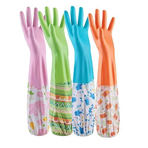 AOOPOO 4 Paar Küche Gummihandschuhe gefüttert Handschuhe für Reinigung und Geschirrspülen lange Haushalthandschuhe