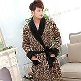 DDOQ Saugfähig Flanell Verdickte Paar Bademantel Leopard Muster Warme Nachthemd Winter Pyjamas (Farbe : Leopard, Größe : XXL)