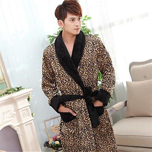 5b9e16c2af Ari_Mao Flanella Addensato Paio Accappatoio Modello Leopardato Caldo Pigiama  Invernale da Notte (Colore : Leopard