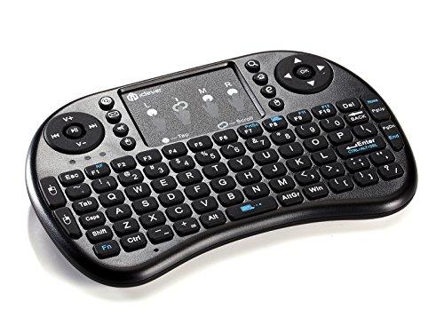 Clavier Sans Fil (AZERTY), iClever Mini Clavier Français 2.4GHz Clavier Wireless avec Touchpad Ergonomique Rechargeable Keyboard Pour Smart TV, mini PC, HTPC, Console, Ordinateur (Noir)