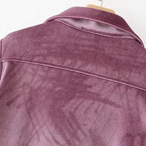 Veste Manteau à Court Velours Locomotive Mode Femmes, QinMM Mesdames Zipper Hiver Automne Pardessus Cool Moto Windbreaker Outwear Violet