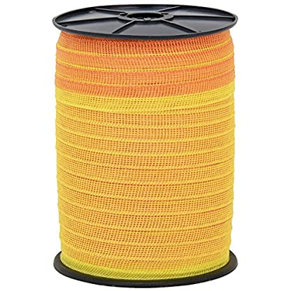 VOSS.farming Electric Fence Tape 200 m, 20 mm,5 x 0.16 Stainless Steel, Yellow and Orange 2
