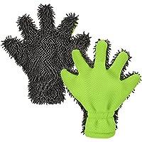 moonlux 2 Stücke Mikrofaser Autowaschhandschuh, Weicher Korallen Auto Chenille Waschhandschuh Handschuh für Autowäsche Fenster Autopflege Felgenbürste Haushaltsreinigung Möbel und Kapuze Reinigung