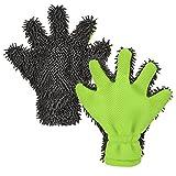 moonlux 2 Stücke Microfaser Felgenhandschuh Felgenbürste Waschhandschuh Alufelgen, Lack, Fenster Zweiseitiger Autopflege Weicher Korallen Auto Chenill Autowaschhandschuh