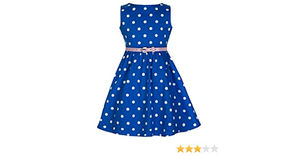 Lindy Bop Childrens Audrey Vintage Inspired Polka Dot Swing Dress (3-4 Years, Blue): Amazon.co.uk: Clothing