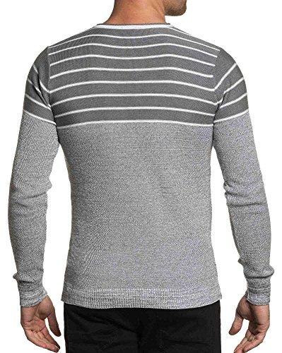 BLZ jeans - Feinstrick-Pullover grau und weiß Mann Grau