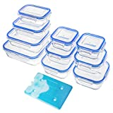 Zestkit 10-teiliges Glas Frischhaltedosen Set mit Deckel Eisbeutel Frischhalteboxen Glasbehälter...