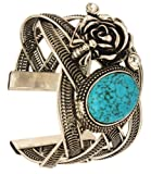 Chunky Black Metal Braided Cuff Bracelet with Turquoise Stone & Engraved Flower Birthday or Anniversary Gifts for Women & Girls