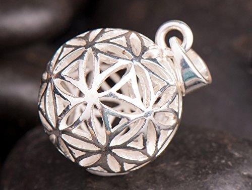 Berg Blume des Lebens Kugel-Anhänger 925 Sterling Silber, Ø ca. 17 mm