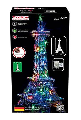 Tronico Metallbaukasten, Eifelturm, 77x32x32cm, 48 LED Lichterkette, 1280 Teile, 4 farbige Aufbauanleitung, 12 Jahren, rcee