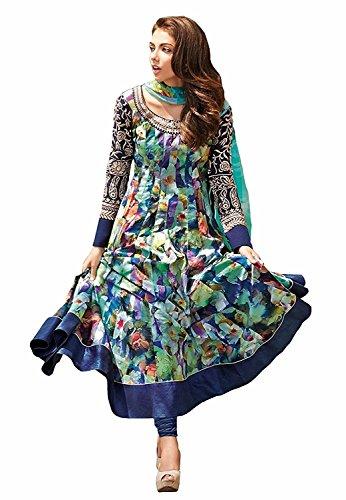 New Designer Multi Colour Bhagalpuri Printed Semi-Stiched Long Suit