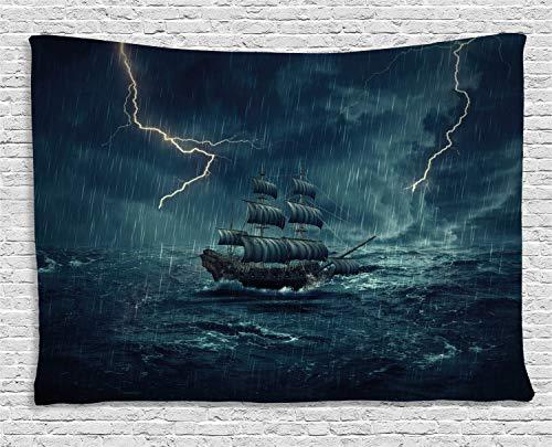 (ABAKUHAUS Landschaft Wandteppich, Piraten-Vintage-Schiff, Wohnzimmer Schlafzimmer Heim Seidiges Satin Wandteppich, 150 x 100 cm, Dunkelblau und Weiß)