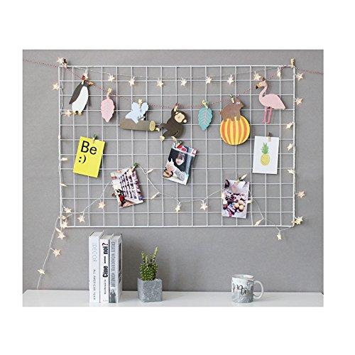 Eisen Gitter der Foto Wand einfache Dekoration Plaid kreative personalisierte Foto an der Wand Hängen in der Familie, Küche, Büro und so weiter (weiße, 65 * 45cm)/DIY (Plaid Eisen)