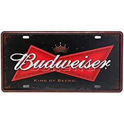 Budweiser Cerveza, grabado, tin sign – Placa de metal, 30 cm x 15 cm, Vintage pared decorativos Cartel por 66retro