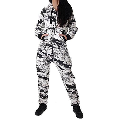 Crazy Age Damen Jumpsuit Camouflage Warm, Weich und Kuschelig Overall Onesie Jogging - Freizeit Anzug CA 2850 - 3