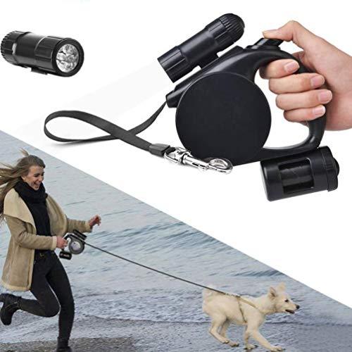 SKJIND - Correa retráctil resistente para perro con dispensador de luz y bolsa, 3 en 1, para mascotas de hasta 50 kg