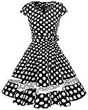 Gardenwed Damen 1950er Vintage Rockabilly V-Ausschnitt Retro Hepburn Stil Cocktailkleid Weihnachten Kleid Black White Dot S