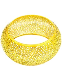 Ahilya jewels Imperial Filigree Collection .925 Sterling Silver Gold Plated Bangle
