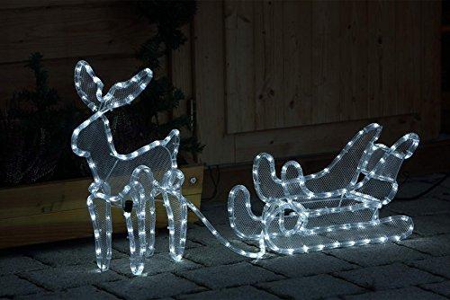 Decorazioni Luminose Natalizie : Renna con slitta luminosa con led a luce fredda per decorazione