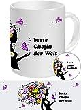 Chefin Set-03 FRAUENGESCHENK: Chefin - Beste Chefin, Top Geschenke für die Besten Frauen NEU Tasse + Button