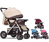 Li.Du Hohe Landschaft Kinderwagen, Deck Kann sitzen und liegen Vierrad-Stoßsicherer Zwei-Wege-Kinderwagen für 0-3 jährige Babys,red
